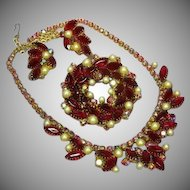Juliana D&E DeLizza & Elster Red Aurora Borealis Rhinestones and Pearl Necklace Pin Brooch and Earrings Demi Parure