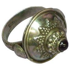 Sterling Silver Ornate Garnet Cabochon Vintage Hand Made Ring