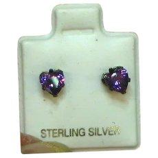 Hearts Purple Crystal Sterling Silver Mint on Card Pierced Earrings
