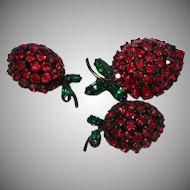 Warner Signed Red Rhinestone Strawberries Pin Brooch Clip Earring Set Demi Parure