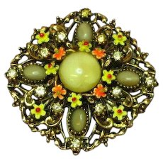 Art Designer Signed Enamel Flowers Art Glass Rhinestones Pin Brooch