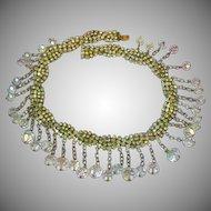 Deluxe Designer AB Rhinestone AB Crystal Dangle Necklace