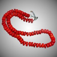 Bold Red Bamboo Coral Beaded  Sterling Silver Hand Knotted Necklace