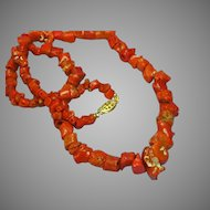 Coral Mediterranean Red Single Strand Museum Quality Coral with Ornate Clasp Necklace