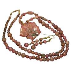 Rhodonite Hand Carved Flower Beads Necklace Earrings Set Demi Parure