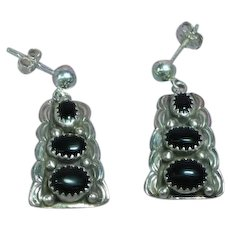 Native American Indian Black Onyx Sterling Silver Pierced Earrings