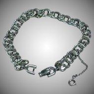 Monet Signed Silver Double Link Charm Bracelet