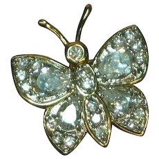 CZ Crystal and Vermeil Butterfly Pin Brooch