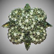 Warner Signed Magnificent Large Rhinestone Black Diamond Multi Layer Pin Brooch