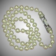 Swarovski Signed Designer Stunning White Hand Knotted Cultured Pearls Rhinestones Necklace