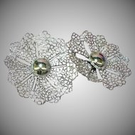S.A.C. Marked Designer Massive Large Filigree Rhodium Plate Sarah Coventry Clip Earrings