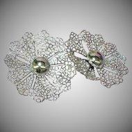 S.A.C. Signed Designer Massive Large Filigree Rhodium Plate Sarah Coventry Clip Earrings