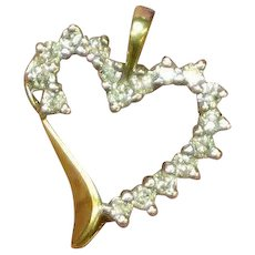 10K Yellow Gold Diamonds Witches Heart Necklace Pendant or Charm