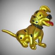 Disney Signed Designer Dalmatian Dog Enamel Gold Tone Pin Brooch