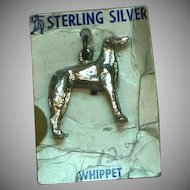 Whippet Dog Sterling Silver on Original Card Necklace Pendant or Charm