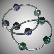 Huge  Mirrored Vitrial Faceted Bead Stretch Matched Set 2 Bracelets