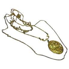 Solid Perfume Locket Vintage Rhinestones Double Chain Pendant Necklace