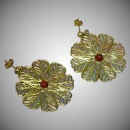 Gold Plate Large Round Filigree Dangle G.F. Posts Pierced Earrings
