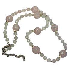 Angel Soft Pink Rose Quartz Faceted Rhinestone Rondells Necklace