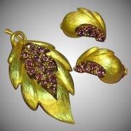J.J. Signed Designer Rhinestones Raspberry Purple Pin and Earrings Set Demi Parure