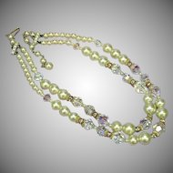 Crystal Fancy Cut Rhinestones  Glass Pearl Designer Coutour Necklace