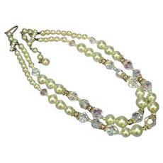 Crystal Fancy Cut Rhinestones  Glass Pearl Designer Couture Necklace