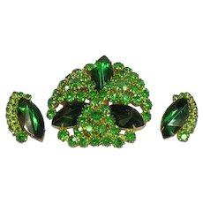 Emerald Green Rhinestone Sensational Large Designer Pin Earrings Set Demi Parure