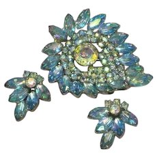 Magnificent Blue A/B Massive Rhinestones Brooch Pin and Earrings Set Demi Parure