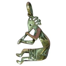 Native American Indian Kokopeli Reversible Dancer Flute Sterling Silver Stamped Charm Necklace Pendant