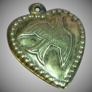 Puffy Heart Sterling Silver Vintage Dove Charm