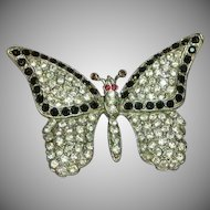 Art Deco Large Paved Rhinestone Butterfly Figural Pin Brooch