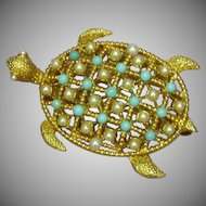 Turtle Figural Faux Pearl Turquoise Bead Encrusted Vintage Gold-Tone Brooch Pin