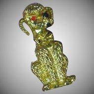 Vintage Golden Poodle Puppy Dog Figural Pin Brooch