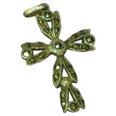 Sterling Silver Marcasite Cross Necklace Pendant Charm