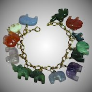 Magnificent Gold Filled Carved Gemstone Elephants Animals Figural Charm Bracelet