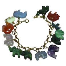 Magnificent Gold Filled Carved Gemstone Elephants Animals Figural Charm Bracelet