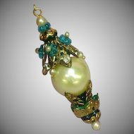 Art Nouveau Style White Faux Pearl Drop Rhinestone Teal Art Glass Stunning Négligée Lavaliere Necklace Pendant
