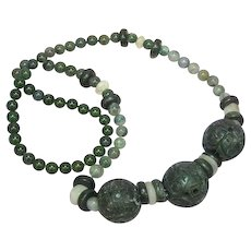 Jade Pierced and Carved Chinese Large Dark Green Beads Moss Agate Incredible Green Color Necklace