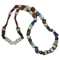 Gemstones Genuine Asymmetrical Chunky Turquoise Onyx Lapis Agate Southwest Necklace