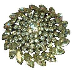 Magnificent Rhinestones Huge Dazzling Designer Round Pin Brooch