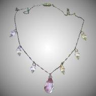 Victorian Era Briolettes Crystal Sterling Silver Necklace