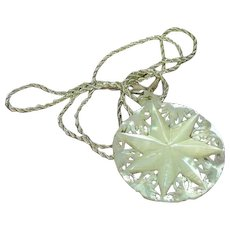 Carved Mother of Pearl Large Star Design Hand Made MOP Round Pendant and Sterling Silver Chain Necklace