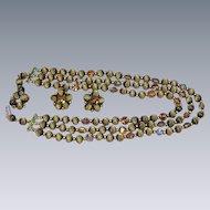 Czech Republic Crystal  Carved Moon Glow Beads Necklace Earrings Set Demi-Parure