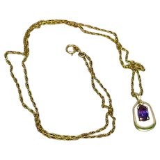 14K Yellow Gold Pendant Diamond Genuine Amethyst on 14K Gold Filled Chain Necklace