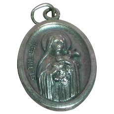 St. Therese Catholic Creed MIB Sterling Silver Religious Medal  Necklace Pendant Charm