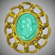 Egyptian Revival Pharoah Turquoise Lucite Large Pin Brooch