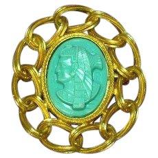 Egyptian Revival Pharoah Turquoise Lucite Large Pin Brooch