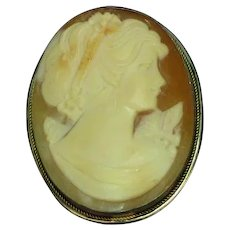 Carved Cameo, Wonderful Sterling Silver Frame Detailed Hand Carved Brooch Pin Pendant