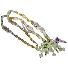 Carved Rock Crystal Quartz All Semi-Precious Faceted and Carved Gemstones with Gold Filled Art Deco Clasp Necklace