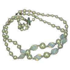 Opaline Opalite Art Glass Freeform Beads Glass Pearls Double Strand Necklace